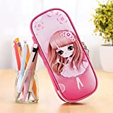 Huayang| New Cute Cartoon Zipper Lovely Princess Pen Holder, Pencil Case/ Pen Bag/ Pencil Pouch - School Stationery Pouch for Kids Pink Type 5