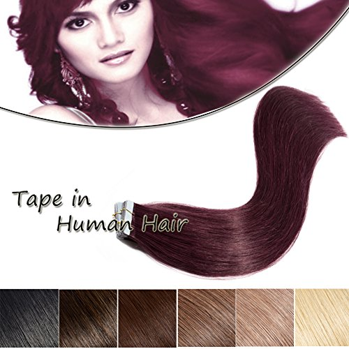 Burgundy Tape in Hair Extension Human Hair 16 inch Wine Red #99J Straight Highlighted Remy Human Hair Bond Double Sided Tape Seamless Skin Weft 20pcs/50g]()