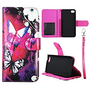 Wallet White Flower Butterfly For Apple Iphone 5C Synthetic Leather Wallet Flip ID Pouch Credit Card Holder Case Cover Phone Case Snap on Sheild Protector Cover