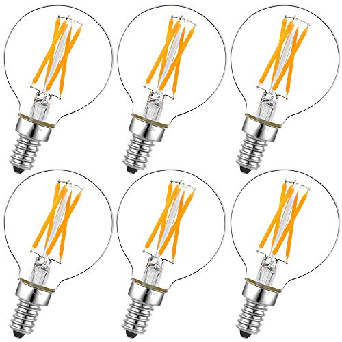 - Dimmable g16.5 led Bulb e12 g16 1/2 led Candelabra Bulb 40w led Edison Bulb 2700K 400lm ac120v 4w g50 led Globe Bulb for Chandelier,Vanity and Ceiling Fan Light Bulbs 6Pack