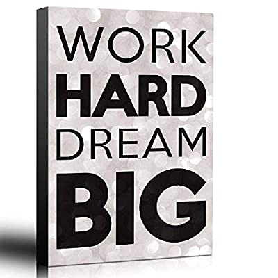 Bold Inspirational Quote Work Hard, Dream Big on Champagne Bokeh Background - Home and Dorm Room Art - Canvas Art Home Art - 16x24 inches