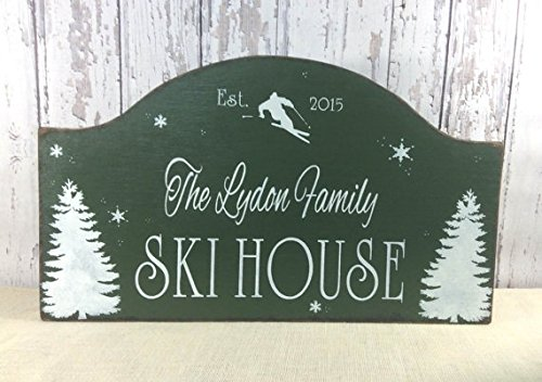 Housewarming Plaque (Wood Plaque Ski House sign, custom wood sign, personalized sign, rustic cabin sign, ski cottage sign, winter cabin decor, realtor housewarming gift 24