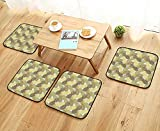 Printsonne Comfortable Chair Cushions Metallic Themed Drawn Overlapping Curving Tropical Pineapples with Lines Reuse can be Cleaned W17.5 x L17.5/4PCS Set