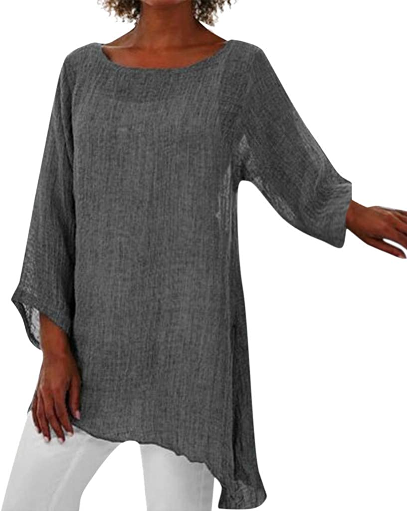 TIFENNY Cotton Linen Tops for Women Plus Size Crewneck Long Sleeve Baggy Blouse Shirt Ladies Summer Tunic Shirts