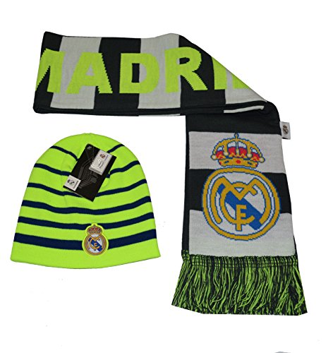 Real Madrid Set Beanie Skull Cap Hat and Scarf Reversible New Season 2015-2016 (Neon)