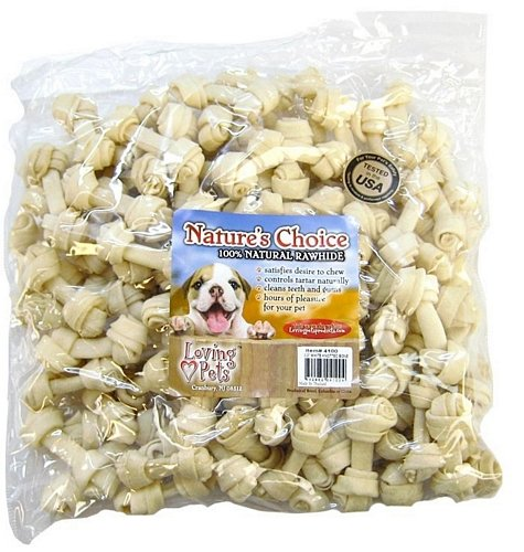 Loving Pets Nature's Choice Rawhide White Knotted Bone, 2-3in 100ct (100 x 1ct) (White Knotted Bones Rawhide)