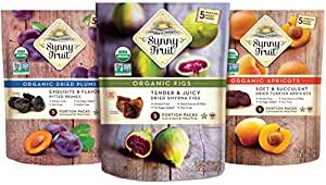 ORGANIC Dried Fruit Assortment - Sunny Fruit Prunes, Figs & Apricots (3 Bags) - (5) 1.76oz Portion Packs per Bag - NO Added Sugars, Sulfurs or Preservatives | NON-GMO, VEGAN & HALAL