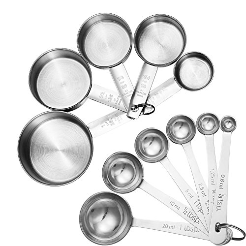 Accmor 11-Piece Stainless Steel Measuring Spoons/Cups Set - Premium Stackable Tablespoons Measuring Set for Dry and Liquid Ingredients Prefect for Cooking or Baking (Measuring Cups And Spoons Holder)