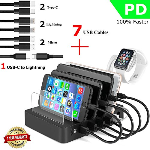 Price comparison product image Fastest Charging Station and 7 USB Cables,PD&QC 3.0,iWatch Holder,90W COSOOS 6-Port USB Quick Charging Stand Docking Organizer for Apple New Macbook,USB-C Laptop,iPhone,iPad, Samsung,Tablets,Kindle