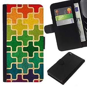 KLONGSHOP // Tirón de la caja Cartera de cuero con ranuras para tarjetas - Patrón marroquí Cruz del arco iris - HTC DESIRE 816 //
