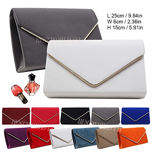 Ladies Bridal Prom Bag Suede Wedding Clutch Party Metallic Envelope Clutch Girly Wocharm Burgundy Frame HandBags Bag Faux Evening fwYO7xF65q