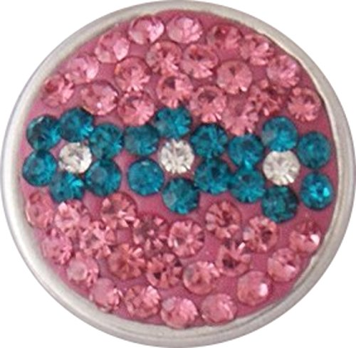 Interchangeable Snap Jewelry Pink & Blue Flowers Crystal Snap fits 18-20mm by My Prime Gifts ()