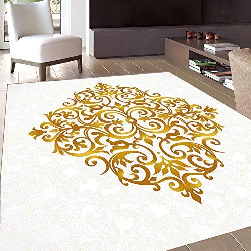 Rug,FloorMatRug,Mandala,AreaRug,Victorian Style Traditional Filigree Inspired Royal Oriental Classic Print,Home mat,4'7