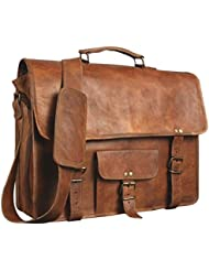 Leather Genuine Mens Auth Real Leather Messenger Laptop Briefcase Satchel Mens Bag (11X15)