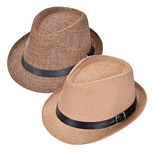 - Fedora Hats for Men, Straw Packable Cuban Panama Style Trilby Sun Beach Hats with Short Brim, Gangster Cap Band Summer hat (A-Khaki&Coffee)