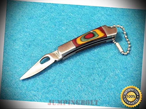 Multi-color wood 210879 stainless bolsters folding keychain knife 2 1/8'' closed - Knife for Bushcraft EMT EDC Camping Hunting