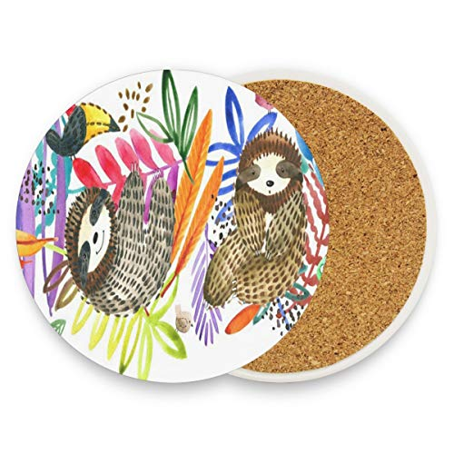 (LoveBea Cartoon Sloth and Tropical Coasters, Prevent Furniture from Dirty and Scratched, Round Drink Coasters Set Suitable for Kinds of Mugs and Cups, Living Room Decorations Gift 1)