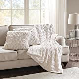 Decorative Pillow Cover - Comfort Spaces Faux Fur Throw Blanket Set – Fluffy Plush Blankets for Couch and Bed – Ivory Size 50
