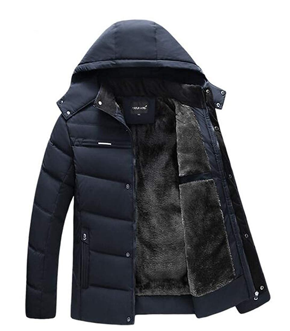Easonp Mens Loose Fit Thick Puffer Cotton-Padded Hooded Parkas Coat