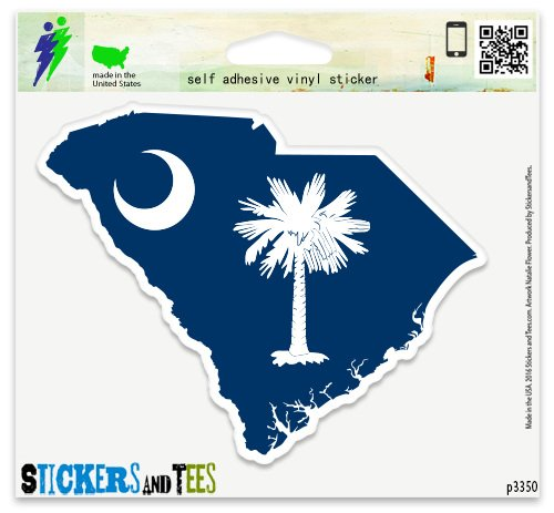 (South Carolina Map Flag Vinyl Car Bumper Window Sticker 3