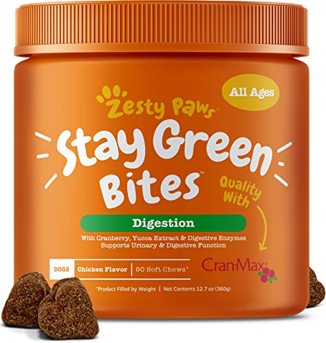 Zesty Paws Stay Green Bites for Dogs  Grass Burn Soft Chews for Lawn Spots Caused by Dog Urine  CranMax Cranberry for Urinary Tract amp Bladder  with Apple Cider Vinegar  Digestive Enzymes  90 Ct