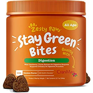 Zesty Paws Stay Green Bites for Dogs - Grass Burn Soft Chews for Lawn Spots Caused by Dog Urine - Cran-Max Cranberry for Urinary Tract & Bladder - with Apple Cider Vinegar + Digestive Enzymes - 90 Ct 15