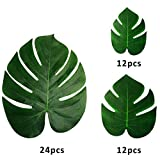 Finseng 48 Packs Tropical Leaves Palm Simulation Imitation Leaves Tropical Hawaiian Luau Jungle Safari Birthday Party Supplies Decorations
