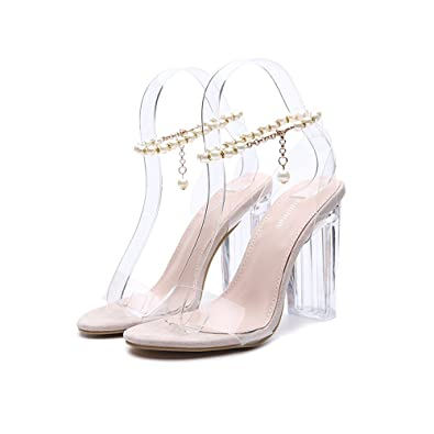 7d67d24e20 QZUnique Women's Crystal Chunky High Heels S ALS Transparent Upper Peep Toe  with Rl Chain US 9.5 B(M) US Apricot: Buy Online at Low Prices in India ...