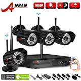 ANRAN 4CH WIFI NVR H.264 2.0 MP Wireless WIFI Network IP Security Camera System with 4 of 1080P HD Outdoor Indoor IR Night Vision Camera Easy iPhone Mobile View No Hard Drive For Sale