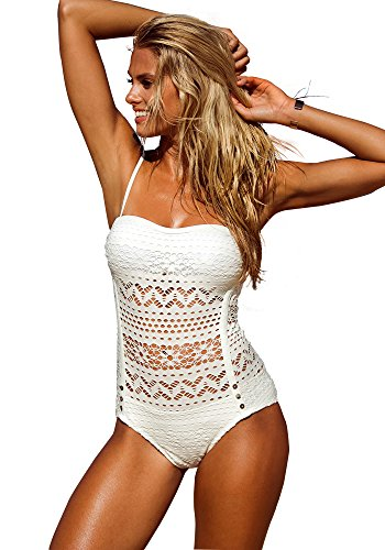 LookbookStore Women's Sexy Classy Crochet Lace Trim Halter Swimsuit  White US 16