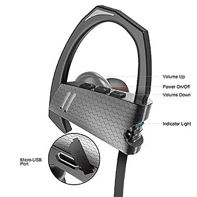Bluetooth Headphones Cloele Best Wireless Sports Earphones w/ Mic Waterproof HD Stereo Sweatproof Earbuds for Gym Running Workout 8 Hour Battery Noise Cancelling Headsets