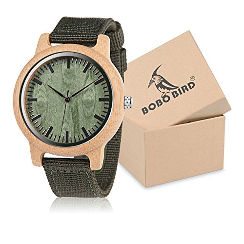 BOBO Bird Unisex Bamboo Wooden Watch for Men and Women Analog Quartz Lightweight Handmade Casual Watches with Green Nylon -