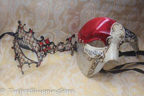 [Matching Couple Lover Red Phantom & Musical Venetian Masquerade Mask] (Red Masquerade Mask)