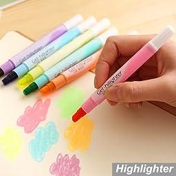 6 Pcs/lot Candy Gel Highlighter Pen Lumina Finecolour Paint Marker Crayon Stationery