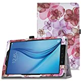 MoKo Tab E 9.6 Case - Slim Folding Cover for Samsung Galaxy Tab E / Tab E Nook 9.6 Inch 2015 Tablet (Fit Both WiFi and Verizon 4G LTE Version), Floral PURPLE