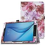 MoKo Samsung Galaxy Tab E 9.6 Case - Slim Folding Cover for Samsung Galaxy Tab E Wi-Fi / Tab E Nook 9.6-Inch Tablet Verizon 4G LTE Version, Floral PURPLE (NOT FIT Tab E 8.0 inch Tablet)