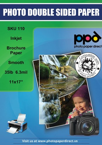PPD Inkjet Matt Double Sided Ultra Smooth Brochure Paper 11x17'' 35lbs. 130gsm 6.3mil x 50 sheets (PPD110-50) by Photo Paper Direct