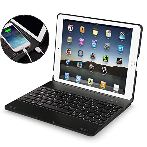 4th Generation Case - iPad 2 3 4 Keyboard Case - iPad 2 3 4 Case with Wireless/BT Keyboard - iPad 2 3 4 Case with Powerbank[2800mAh] - iPad Keyboard 2nd 3rd 4th Generation Case - Hard Clamshell Protective Cover - Black
