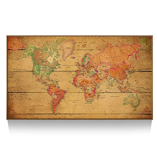 Framed Pencil Print Art - Kreative Arts - Large Size World Map Wall Art - Natural Framed Art Print Picture Wall Decor Home Interior - Map Picture with Floater Frame for Office Wall Decor 55x32inch