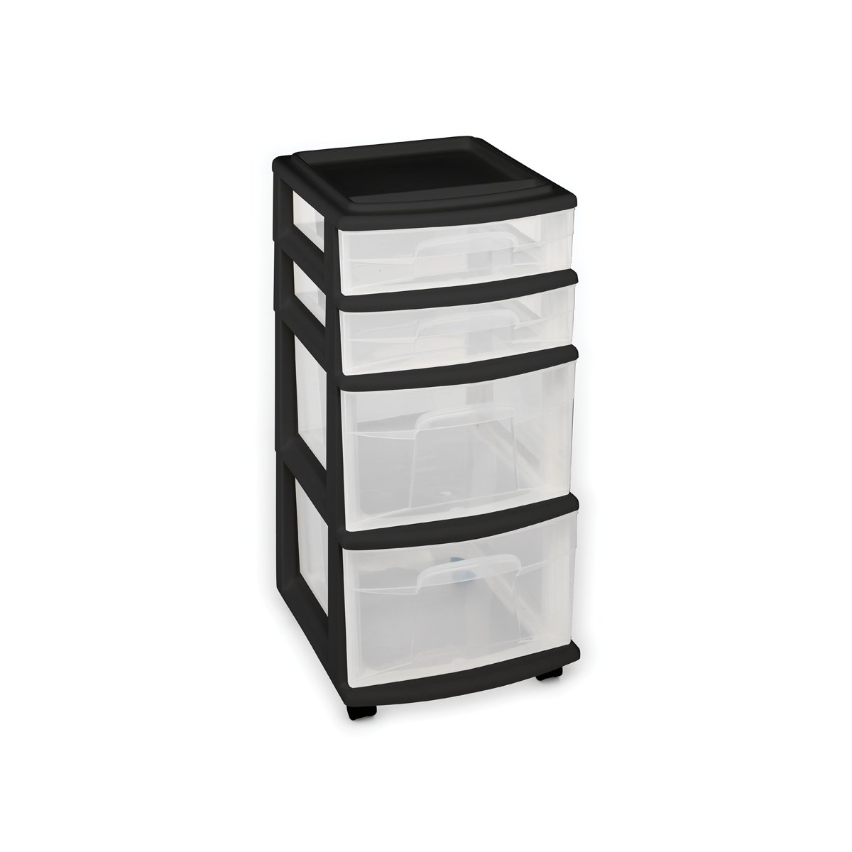 Homz Plastic 4 Drawer Medium Cart, Black Frame with Clear Drawers, Casters Included, Set of 1