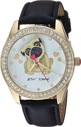 - Betsey Johnson Women's Dog Motif Dial Strap Watch Black/Gold One Size