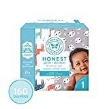 The Honest Company Super Club Box Diapers - Newborn Diapers, Size 1 - Pandas & Safari Print | TrueAbsorb Technology | Plant-Derived Materials | Hypoallergenic | 160 Count