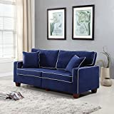 Divano Roma Furniture Collection - Modern Two Tone Velvet Fabric Living Room Love Seat Sofa - Various Colors (Blue)