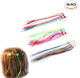 36Pcs TKOnline Nylon Clip Snap On Children, Neon Colors Braided Hair Extension Highlight Kit for Birthday Party Favors, Nylon Hair Braid Extensions Attachments.(3 Styles)