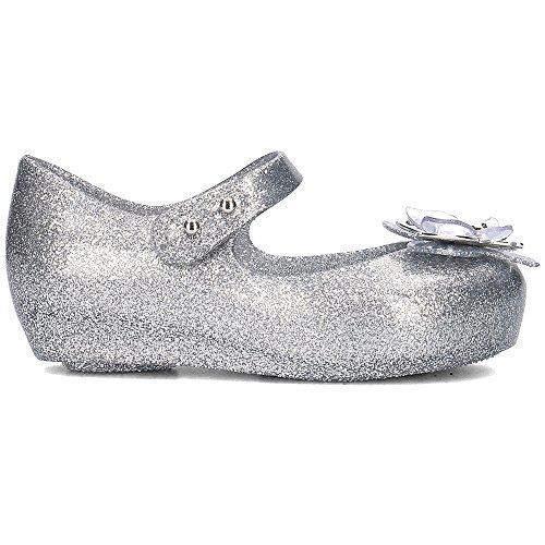 Melissa Mini Infants Ultragirl Schmetterling 19 Kunststoff Flach Silber Glitter Grey