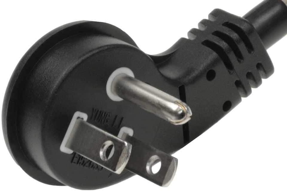 SF Cable 1ft 14//3 AWG Ultra Low Profile NEMA 5-15P Right Angle to NEMA 5-15R Power Cord Black