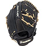 Franklin Sports Pro Flex Right Hand Throw Glove, 12-Inch, Black/Brown