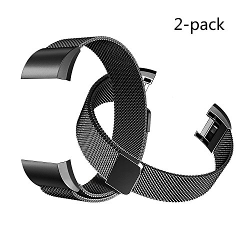 Tecson For Fitbit Charge 2 Bands (2 Pack), Stainless Steel Metal Milanese Bracelet Strap Replacement Wrist band with Magnet Lock for Fitbit Charge 2