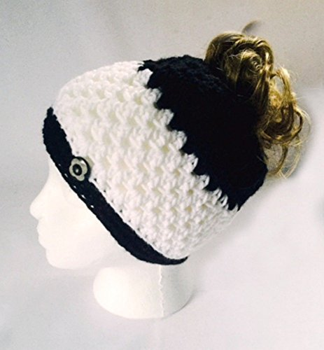 Handmade Messy Bun Hat Stripe White Black Beanie Wood Button Ponytail Runner Crochet Multicolor