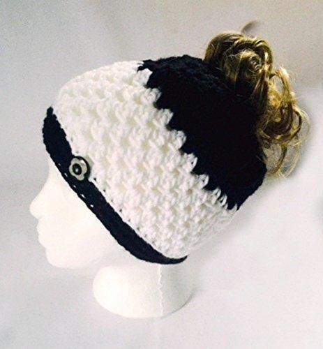 Handmade Messy Bun Hat Stripe White Black Beanie Wood Button Ponytail Runner Crochet Multicolor